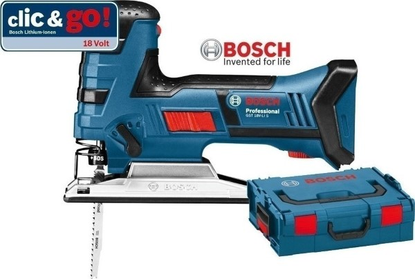 BOSCH CORDLESS JIGSAW GST 18V LI S BLUE, L-BOXX 136 WITHOUT BATTERY AND CHARGER
