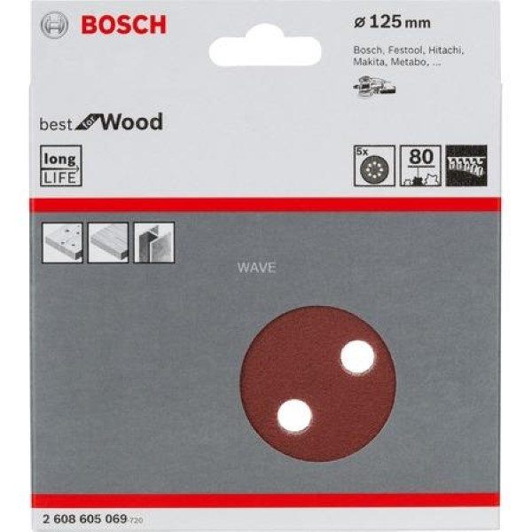 BOSCH SANDING SHEET SET BEST FOR WOOD P80 125MM 5 PIECES