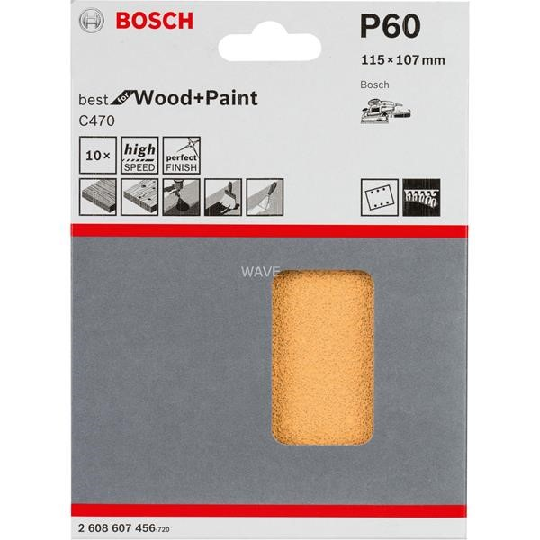 BOSCH SANDING SHEET C470 BEST FOR WOOD AND PAINT, 115X 107MM, K60 10 PIECES