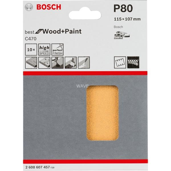 BOSCH SANDING SHEET C470 BEST FOR WOOD AND PAINT, V115XV107MM, VK80 10 PIECES
