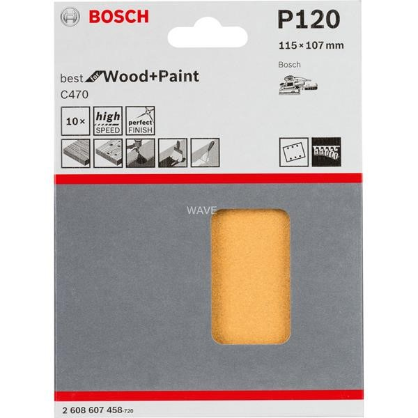 BOSCH SANDING SHEET C470 BEST FOR WOOD AND PAINT, 115X 107MM, K120 10 PIECES