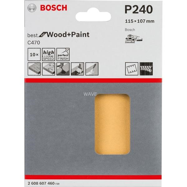 BOSCH SANDING SHEET C470 BEST FOR WOOD AND PAINT, 115X 107MM, K240 10 PIECES