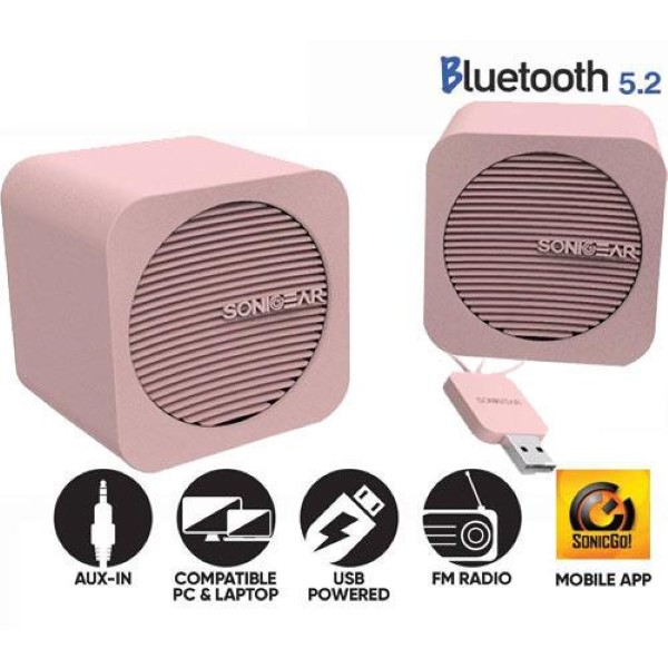 SONIC GEAR BLUETOOTH 5,2 SPEAKERS 2,0 BLUE CUBE PEACH