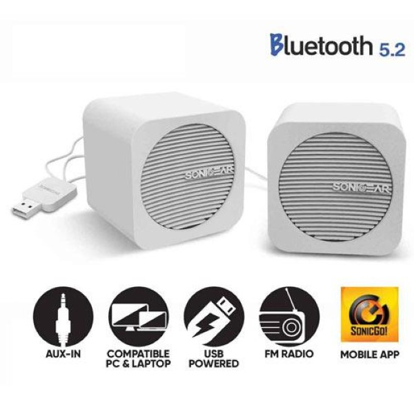 SONIC GEAR BLUETOOTH 5,2 SPEAKERS 2,0 BLUE CUBE WHITE