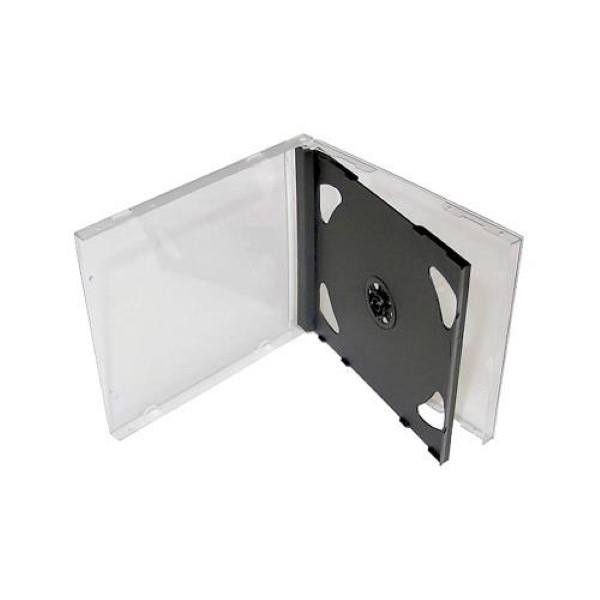 CD BOX FOR 2 CD JEWEL CASE BLACK TRAY