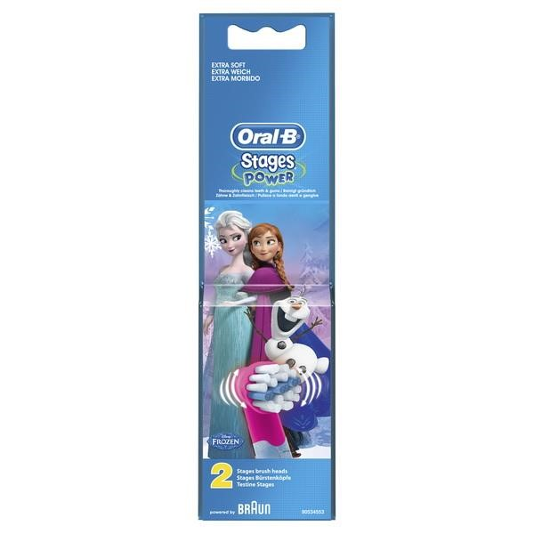 BRAUN ORAL-B BRUSH HEADS STAGES POWER 2ER FROZEN 2 PIECES ORAL-B STAGES POWER ROUND SMALL AND SOFT PINK