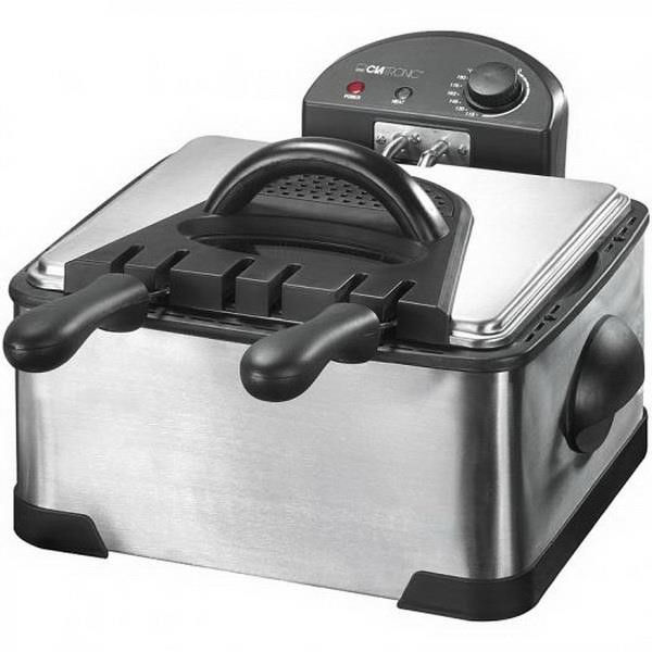 Clatronic FR 3195, Fryer stainless steel  black, double-cold zone fryer