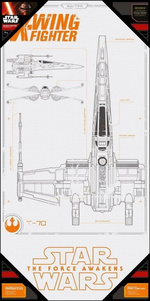 STAR WARS - EPISODE 7 X-WING BLUE PRINT GLASS POSTER (25cm x 50cm) (SDTSDT89836)