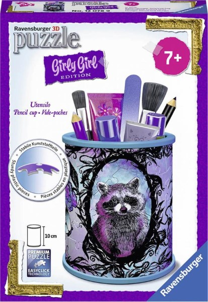 RAVENSBURGER - 3D PUZZLE 54 PCS PENCIL CUP ANIMAL TREND - GIRLY GIRL EDITION (80182)
