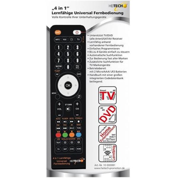 HEITECH 4 IN 1 ADAPTIVE UNIVERSAL REMOTE CONTROL