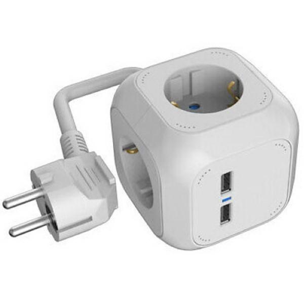 HEITECH SOCKET CUBE (4-WAY) WITH 2 USB CHARGING-CONNECTORS