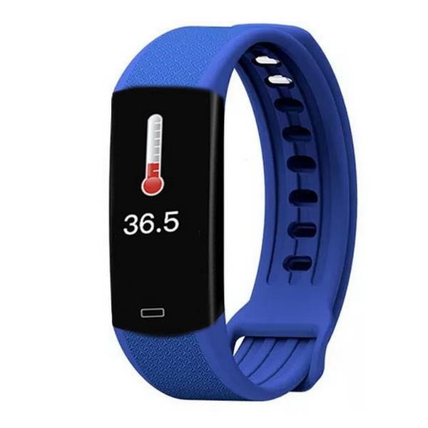 LAMTECH BODY TEMPERATURE DETECTION SMART WRISTBAND WITH HEART RATE MONITOR BLUE