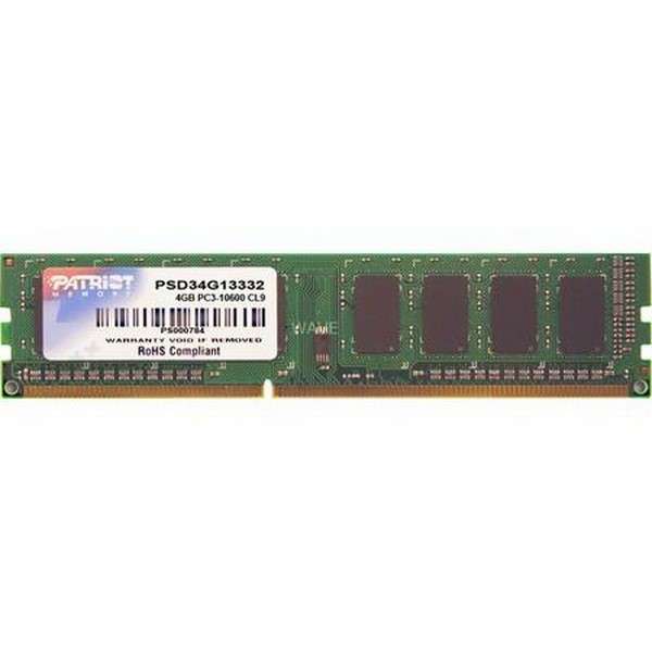 PATRIOT DIMM 4 GB DDR3-1333, MEMORY 4 GB CL9 1 PIECE PSD34G13332, SIGNATURE-LINE PSD34G13332